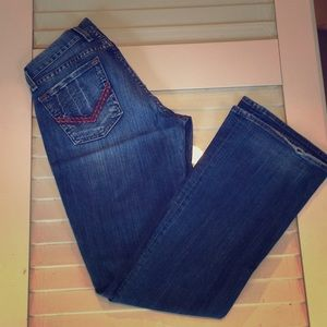 Lucky Brand flare Jean with red pocket stitching